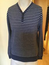 Baileys Men's Sweater Size L BNWT Blue Grey Stripe Cotton RRP £79.95 Now £23