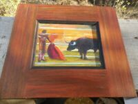 """VINTAGE MEXICAN DOUBLE SIDED OIL ON WOODEN PANEL MODERNIST PAINTING 12"""" X 10,5"""""""
