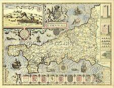 Cornovaglia replica vecchia mappa stampata piano lauceston John velocità C. 1610 Full Size copia