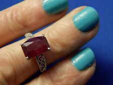 5.62ct Cushion Cut 8x12mm Red Ruby Filigree Ring Sterling Silver Free Sizing