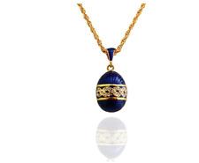 Women Jewelry Brass Enamel Handmade Easter Vintage Egg Pendant Crystal Gift