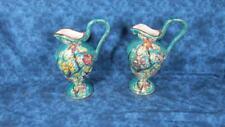 Pair H. Bequet Ewers 316 Mid-Century Quaregnon Hand Painted Majolica Belgium