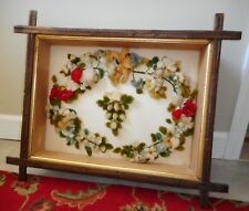 Antique Victorian Wool Mourning Wreath Shadowbox All Original No Glass 19c