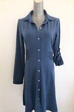 PRANA Women's Indigo Stripe ELENI Button Down Dress Blue w/ Purple Stripes Small