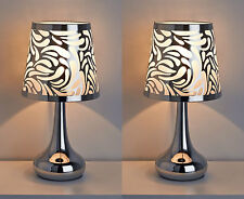 New Pair of 2 Modern Silver Chrome Swirl Touch Table Dimmer Lamp Lights Bedside