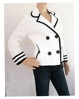 Ladies Double Breasted Cotton Knit White & Black Talbots Jacket/Topper Sz L New