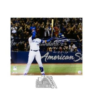 Vladimir Guerrero Jr MLB Debut Autographed Blue Jays 16x20 Photo JSA Silver Ink