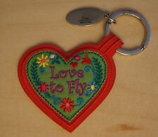 LOVE TO FLY red heart embroidered keychain key chain Valentines Day gift pilot
