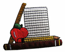 #3873 Notebook & Pencil & Ruler & Book &Apple Embroidery Iron On Applique patch