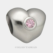 Authentic Pandora Sterling Silver Pink CZ Heart Bead 790134PCZ
