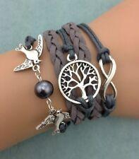 Bracelet gris taupe couple d'oiseau, arbre de vie et lien infini