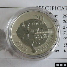 CANADA 2013 COMMEMORATIVE ICE HOCKEY PLAYER .9999 FINE SILVER SPECIMEN $20 - coa