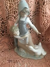 LLADRO 5033 Girl Boy and Goose Retired! Glossy! Mint Condition! No Box! L@@K!