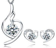 SILVER Heart Pendant Necklace Stud Earrings Set SWAROVSKI Element CRYSTAL Box G7