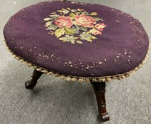 """Antique 24"""" Victorian Rose Floral Needlepoint Rolling Organ Piano Vanity Bench"""