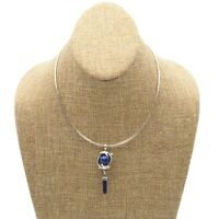 Vintage Estate Sterling Silver Lapis Lazuli Dolphin Pendant  Necklace 16 Inch