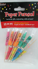 """12 Party Suppiies  4"""" Drink Paper Parasols / Umbrella - Assorted Colors"""