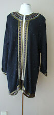 VINTAGE BONNIE BOERER FOR COMPANY KNIT BEAD EVENING LONG CARDIGAN JACKET SWEATER