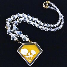 Carved Lucite Floral Yellow Pendant Crystal Bicone Beads Repurposed Brooch 18 in
