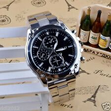 Men's Stainless Steel Luxury Military Sport Chronograph Quartz Wrist Watches New