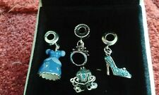 DISNEY CINDERELLA CHARM SET,DRESS,TIARA,CARRIAGE,SLIPPER +  POUCH