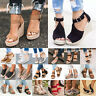Womens Platform Wedge Heel Espadrilles Sandals Beach Ladies Ankle Strappy Shoes