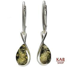 GREEN NATURAL BALTIC AMBER STERLING SILVER DROP EARRINGS.KAB-113
