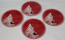 222 Fifth Northwood Cottage Porcelain Christmas Red Apprtizer Plates Set of Four