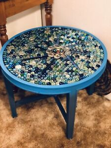 Handcrafted Glass Mosaic table (resin Sealed)