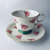 Tokyo China Cup & Saucer Rose Pattern Gold Rim Footed Porcelain Vintage EUC