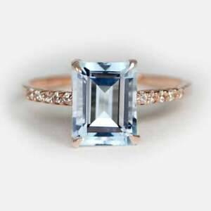 Natural Aquamarine Diamond Solitaire Engagement Ring 14kt Solid Rose Gold