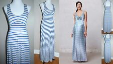 Puella Anthropologie Womens Dress XS Blue/Oatmeal Striped Empire Maxi PM1