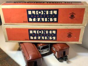 Lionel Postwar Pullman Passenger Two 2442 with Boxes Coach 2443 Observation Car