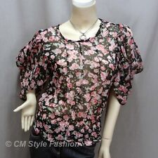 Ruched Sleeves Chiffon Floral Cropped Boho Top Black XS