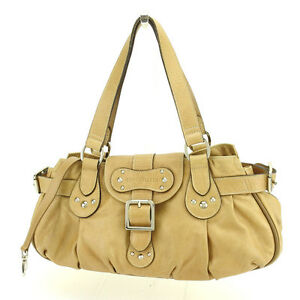 Longchamp Handbag Beige Silver Woman Authentic Used N301
