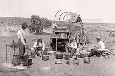 20x30 photo cowboys round-up chuckwagon Texas TX range horse wranglers camp 1900