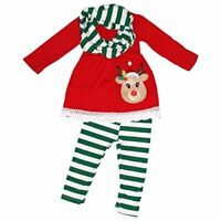 Girls 3 Piece Striped Rudolph Christmas Legging Set Green Outfit