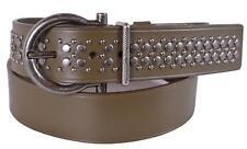New Salvatore Ferragamo Men's $480 Olive Leather Gancini Buckle Belt Size 42 XL