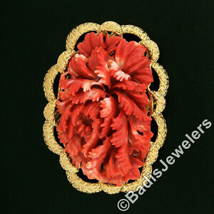 Large Vintage GIA NO DYE Carved Red Coral Brooch w/ Hand Engraved 18k Gold Frame