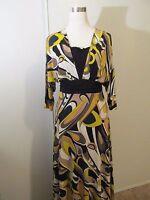 Nectarina Black/Yellow Print 3/4 Bat wing Sleeve Stretch Knee length Dress SZ: L