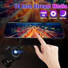 INSMA 10'' Dual Lens FHD 1080P Dash Cam Car DVR Rearview Mirror Backup Camera US