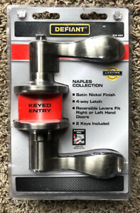 Defiant Naples Collection Satin Nickel Keyed Entry Door Handle # 534899 - New
