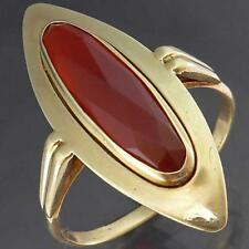 Long Oval Shield Solid 14k Yellow GOLD DUTCH CARNELIAN STATEMENT RING Lg Sz S1/2