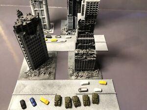 Sh Monsterarts GODZILLA 4 Buildings Battle Damaged Starter Set 1/450 Scale