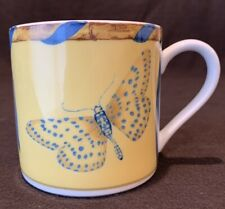 Lynn Chase Butterfly Bamboo Mug Yellow with Blue Ribbon Appears Unused