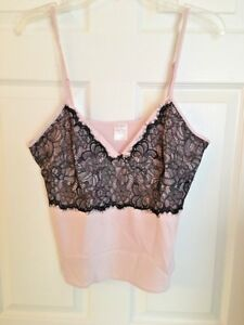 NWOT Gillian OMalley Camisole - Pajama Top, Pink With Black Lace Sz Large