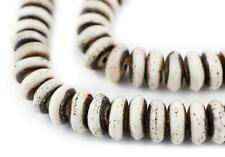 Grey Bone Mala Disk Beads 12mm Nepal Large Hole 24 Inch Strand