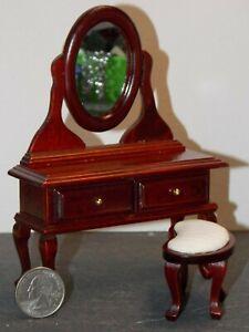 Tocador Casa de Muñecas en Miniatura Dormitorio Muebles Nogal vanidad