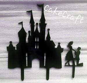 Acrylic Disney castle Couple engagement/wedding cake topper decorations