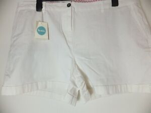 New Women's Boden White High Waist Shorts With Pockets Size UK 22